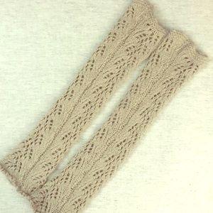 Taupe Crochet Leg warmers